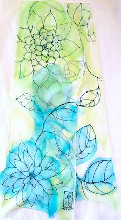 Silk Scarf Handmade. Aqua & Mint Green Floral Silk Scarf. Green Line Drawing. Silk Scarves Takuyo. Silk Chiffon. 10x54 in. Made to Order.. $46.00, via Etsy.