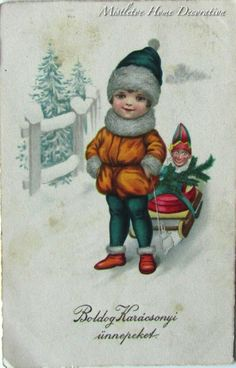Vintage Hungarian Christmas postcard - A child is pulling his puppet on a sled