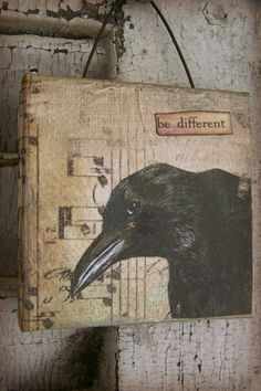 Original Crow Collage Vintage Crow Collage Altered Mixed Media