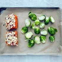 Almond Crusted Salmon with Roasted Brussel Sprouts Roasted Sprouts, Sprouts With Bacon, Roast Recipes, Seafood Recipes, Crusted Salmon, Famous Recipe, Tasty Dishes, Healthy Choices, Main Dishes