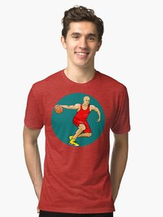 Basketball player Tri-blend T-Shirt. Basketball Player. Offensive Dribble drive motion, open to attack.   Get the stickers, t-shirt, mug, etc with basketball player graphic, to show your love for basketball. #basketball #basketballattack #basketballdribble #dribbledrive