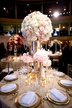 Blush pink and gold wedding table centrepiece Floral Centerpieces, Wedding Centerpieces, Wedding Table, Floral Arrangements, Rustic Wedding, Our Wedding, Dream Wedding, Tall Centerpiece, Centrepieces
