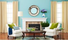 Love these colors together - Green, Blue and White and natural accents