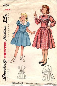 Vintage 1948 Simplicity 2657 Sewing Pattern Girl's One-Piece Dress Size 8 Sewing Patterns Girls, Baby Clothes Patterns, Vintage Patterns, Clothing Patterns, Vintage Girls, Vintage Outfits, Vintage Fashion, Vintage Children, Vintage School