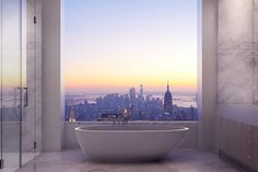 This $80 Million Apartment Has The Most INSANE Views Of NYC #refinery29  Is there anything better than a bubble bath and a view of the Empire State Building?