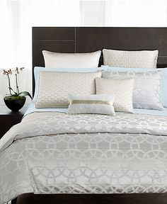 """Hotel Collection """"Rings"""" Bedding  Duvet Cover (rings)  Quilted Coverlet (oyster)  Bedskirt (champagne  Quilted Sham, European (oyster)"""