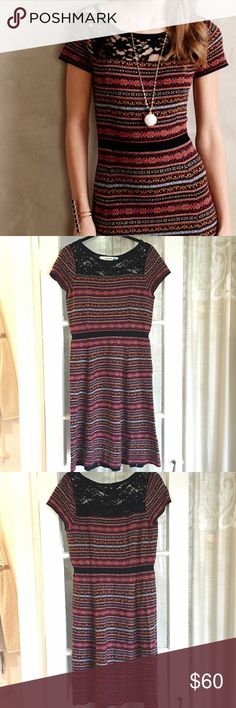 Anthropologie   Fairisle sweater dress This fit-and-flare style dress is lovely! Only worn a couple of times. I love the length because it's not too short. It has some pilling due to the nature of the fabric (which is a viscose, nylon, cotton, cashmere & wool blend). Its in good condition and only seeking a new home because I just don't wear it anymore! Brand is Sparrow sold at Anthropologie. Anthropologie Dresses