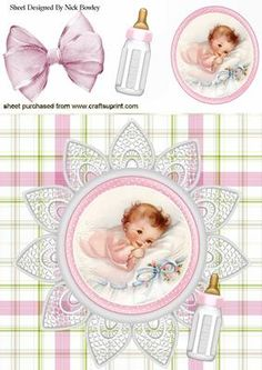 CUTE LITTLE BABY GIRL WITH HER BOTTLE ON LACE 8X8 on Craftsuprint - Add To Basket!