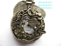 Vintage cool quartz pocket watch necklace watch with long chain,Alice in wonderland Watch Necklace