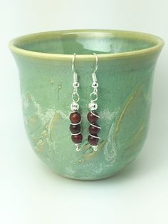 Spiral wire wrapping garnet earrings