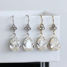 Bridal Earrings Swarovski Crystal Teardrop by LuluSplendor on Etsy, $32.00