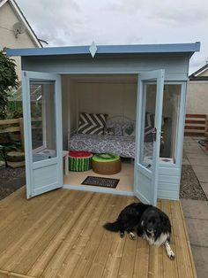 We're so jealous of Alan's dog relaxing with his new summerhouse! It looks simply wonderful. dog house outdoor summer Waltons 8 x 8 Helios Summerhouse Cool Dog Houses, Play Houses, Summer House Interiors, Puppy Room, Summer House Garden, Dog Bowl Stand, Backyard Sheds, Dog Backyard, Backyard Studio