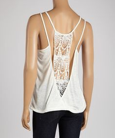 Look what I found on #zulily! Poof! Egg-White Crocheted-Back Tank Top by Poof! #zulilyfinds
