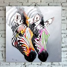 30*30  Framed Modern Zebra Wall Art Abstract Decor Horse Oil Painting On Canvas