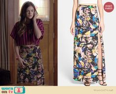 Aria's floral maxi skirt on Pretty Little Liars.  Outfit Details: http://wornontv.net/36588/ #PLL