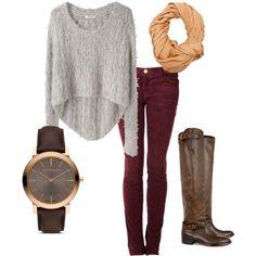 gray sweater + burgundy jeans