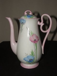 SHELLEY ART DECO POPPY COURT / FOOTED COFFEE POT by amy.shen