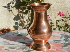 Vintage French Copper Pan. Large Copper Water Jug / Pitcher. Quality French Copper Pitcher. Tableware. French Decor. Home Decor. *************  A Top Quality French Copper Water Jug / Pitcher...  Produced in France in the 1920s.. This is a wonderful piece of French table copper. With a large balluster shaped body and comfortable handle for carrying and pouring...  The jug was probably made at Villedieu in Normandy, the home of quality French copper production for hundreds of years…