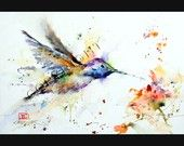 HUMMINGBIRD Watercolor Print by Dean Crouser by DeanCrouser