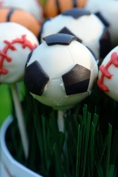 Soccer Ball Cake Pops-if I am brave enough to attempt.  They look a little exhausting.