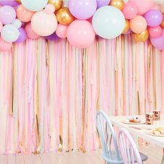 Birthday Ideas Discover Pastel Party Streamers and Balloon Garland Backdrop Streamer Backdrop, Crepe Paper Streamers, Party Streamers, Birthday Streamers, Balloon Birthday, Backdrop Wedding, Diy Birthday Party Photo Backdrop, Gold Birthday, Photo Booth Party