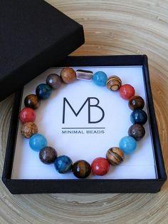 Men's bracelet women's bracelet mixed stones silver