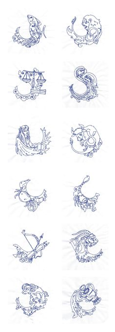 Embroidery Machine Designs - Lineart Zodiac Set