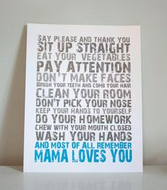 11x14 Mama Loves You  gray and blue by GusAndLula on Etsy
