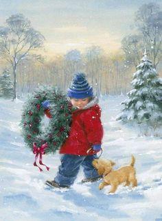 Winter Christmas Scenes, Christmas Scenery, Christmas Past, Little Christmas, Christmas Pictures, Vintage Christmas Cards, Vintage Cards, Creation Photo, Vintage Winter
