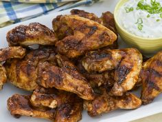 Grilled Chicken Wings with Spicy Chipotle Hot Sauce and Blue Cheese-Yogurt Dipping Sauce by Bobby Flay. Let's go, #TeamBobby!