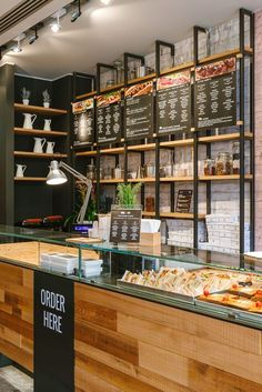 EatMeGo 16 can find Coffee shop interiors and more on our website. Pizzeria Design, Small Restaurant Design, Deco Restaurant, Restaurant Interior Design, Bistro Interior, Cafe Counter, Restaurant Restaurant, Bistro Decor, Small Cafe Design