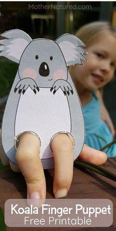 Animal Finger puppets: Koala, owl, lady beetle and Turtle