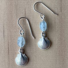 Shell Charm & Aquamarine Earrings