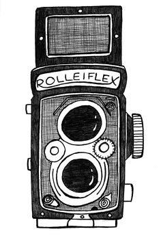 cute analog camera drawing from little blue pencil. Camera Illustration, Photography Illustration, Fine Art Photography, Camera Drawing, Camera Art, Pencil Camera, Art Vintage, Vintage Metal Signs, Old Cameras