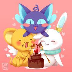 some cuties legendary guardians enjoying some cake~ ♥ Kawaii Chibi, Cute Chibi, Kawaii Anime, Kero Sakura, Cardcaptor Sakura, Manga Anime, Anime Chibi, Xxxholic, Card Captor