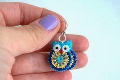 little owl earrings. pattern for owl on site