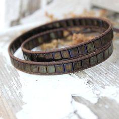 Double Wrap Leather Beaded Bracelet, Ladder Stitch Tila Beads with ...