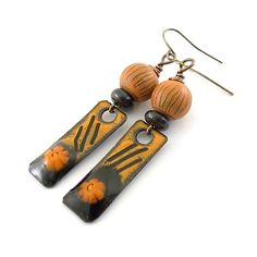 Orange and Brown Fall Enamel Earrings  Brass by CinLynnBoutique