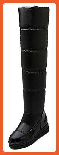 Sfnld Women's Trendy Round Toe Quilted Vamp Heighten Knee High Fleece Warm Snow Boots Black 4.5 B(M) US - Boots for women (*Amazon Partner-Link)
