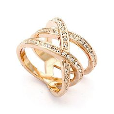 Magic Collection 18k Rose/White Gold Plated Triple Row Cubic Zirconia Crossover Ring (18k Rose Gold Plated, 8)  on Ziftit.