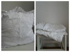 Antique french linen lingerie case| 1800s white embroidery pillow cover | victoria era set of 2