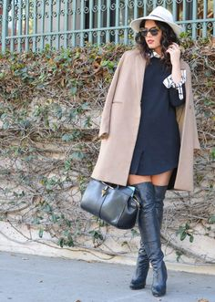 ::wake me up:: ASOS Clean Shift Dress, over the knee boots, wide brim fedora