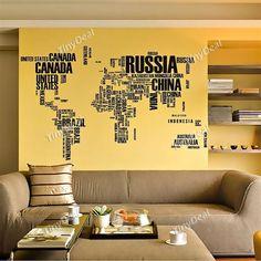Inglés Cartas Warld Mapa etiqueta de la pared - Negro HHIDI-341562