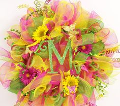 Mesh wreath for spring or summer in pink yellow by CustomCreated, $100.00