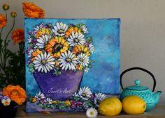 Sunshine - Flowers make me smile Daisies, Sunflowers, Make Me Smile, Art Drawings, Planter Pots, Sunshine, How To Make, Painting, Margarita Flower