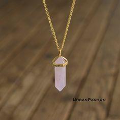Crystal Pendant Necklace // Rose Quartz  // Minimal by UrbanPashun