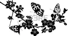 Twig Cherry Blossoms And Butterflies Royalty Free Cliparts ...