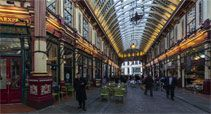 Leadenhall Market:  enter the glass-roofed Leadenhall Market (Tube: Bank) and approach the storefront at 42 Bull's Head Passage — the entrance to The Leaky Cauldron pub