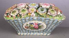 A Paris Porcelain Coffer , c. Jacob Petit, blue initial mark, in the form of a basket, the lid modeled with num. Fine Porcelain, Porcelain Ceramics, Old Paris, Coffer, Floral Illustrations, Flower Basket, Vintage China, Fine China, Favorite Things