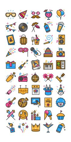Party time icon pack Pink, blue and tan activity stickers Doodle Icon, Doodle Art, Kawaii Drawings, Easy Drawings, Party Icon, Time Icon, Doodles, Insta Icon, Instagram Highlight Icons